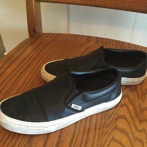 VANS Unisex Black Leather slip on's